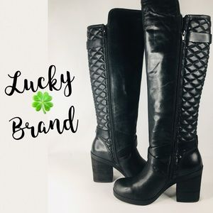 Lucky Brand Leather Oryan Quilted Boot Size 6